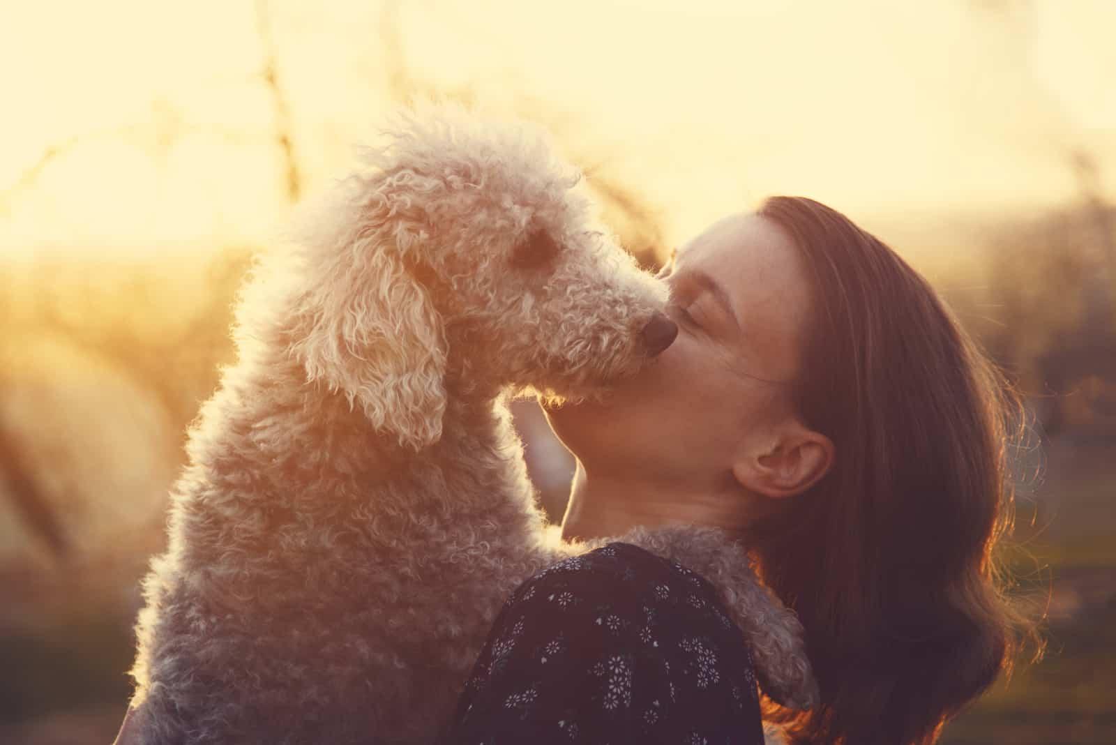 junge Frau, die ihren Bedlington Terrier Hund umarmt