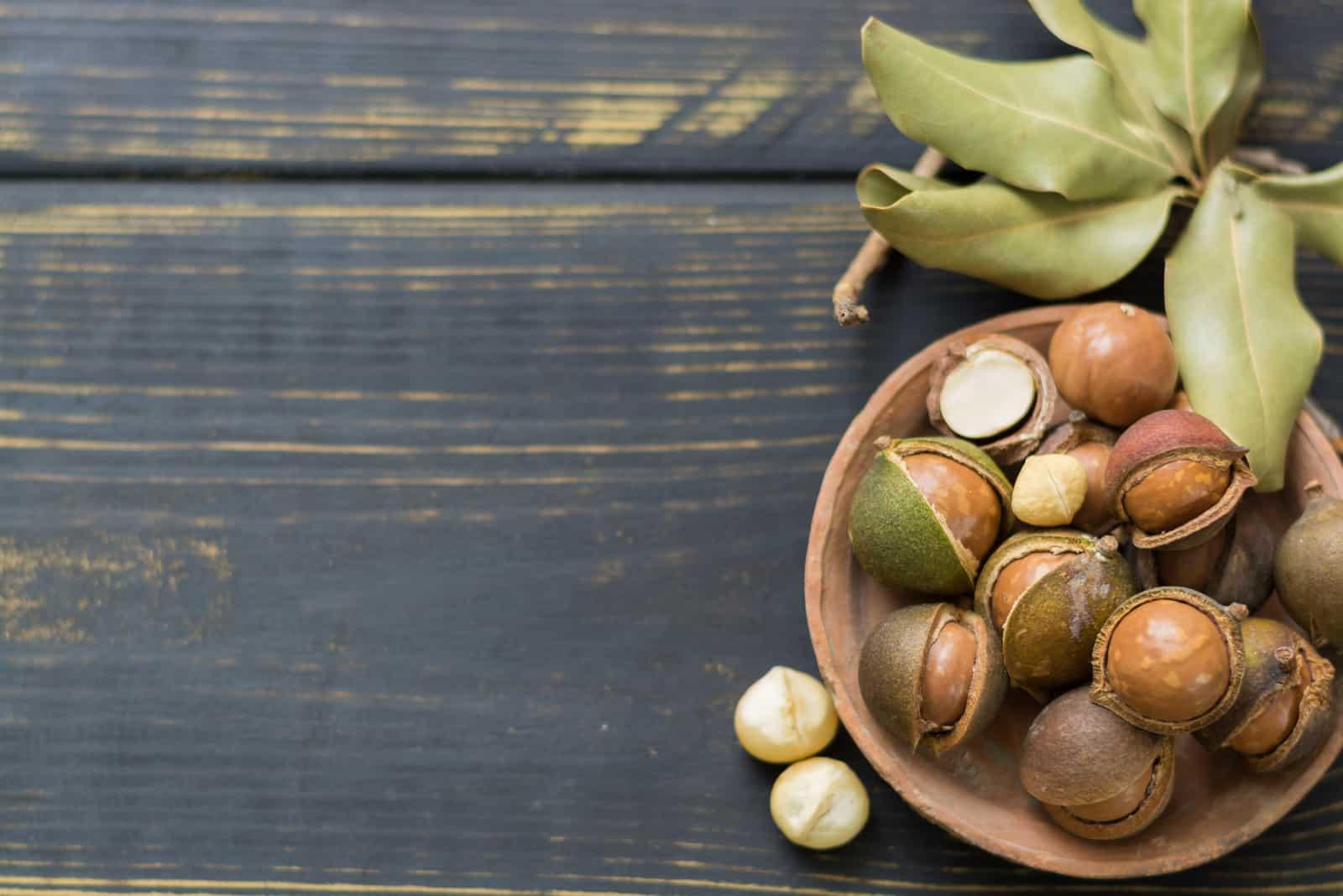 Macadamia-Nüsse in der Schale auf Holztisch