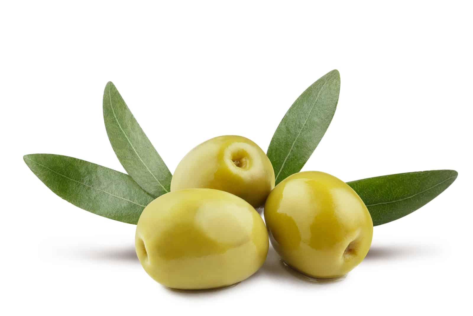 Oliven auf weißem Grund